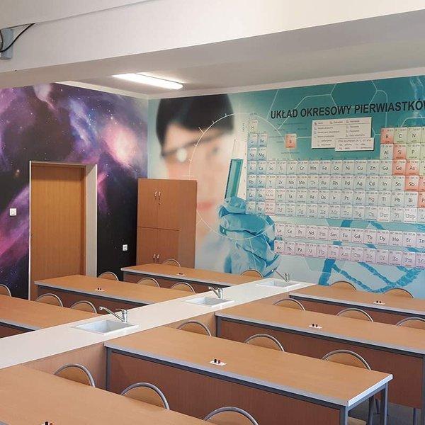 Fototapety na wymiar z kosmosem i tablicą Mendelejewa Białystok