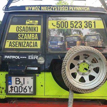 Oklejony samochód Patrol wywozu nieczystości Białystok
