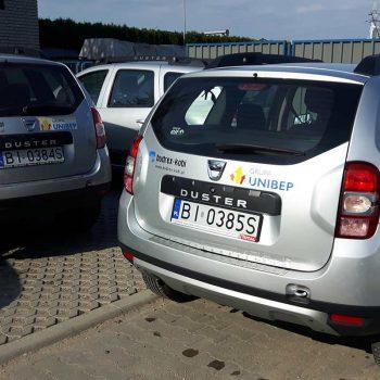 Oklejone samochody grupy Unibep Białystok