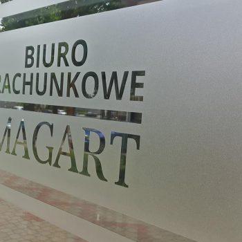 Reklama na drzwiach biura rachunkowego Białystok
