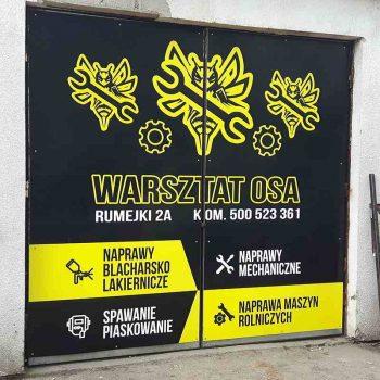Reklama na drzwiach warsztatu Białystok