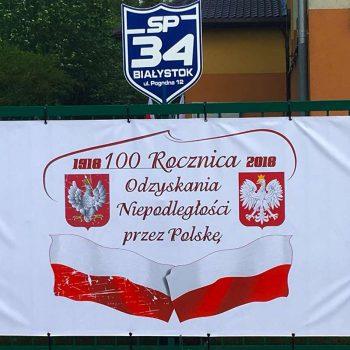 Baner reklamowy na rocznicę odzyskania niepodległości Białystok